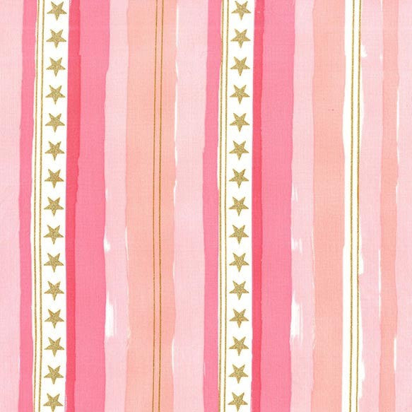 SALE Magic Stars and Stripes Pink METALLIC by Sarah Jane for Michael Miller - Gold - Quilting Cotton Fabric - choose your cut