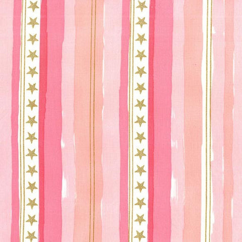 Magic Stars and Stripes Pink METALLIC by Sarah Jane for Michael Miller - Gold - Quilting Cotton Fabric