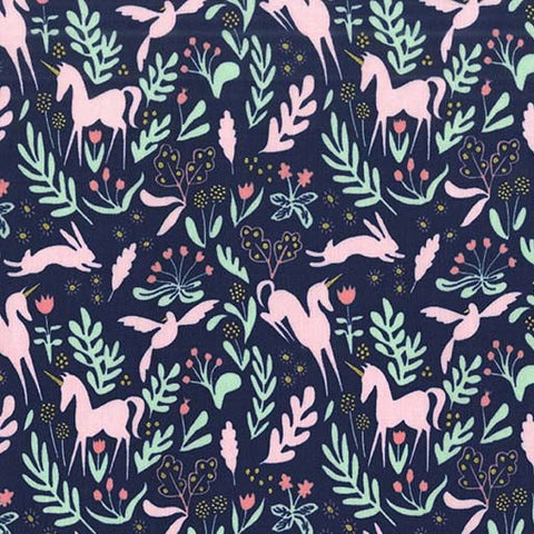Magic Folk Unicorn Navy Blue - Metallic - Sarah Jane for Michael Miller - Cotton Woven Quilt Fabric