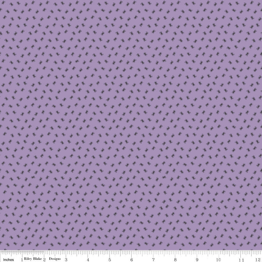 SALE Happy Haunting Spider Purple by Riley Blake Designs - Halloween Spiders - Quilting Cotton Fabric - choose your cut