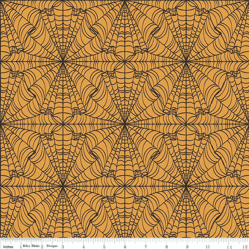 CLEARANCE Lost and Found Halloween Web Orange by Riley Blake Designs - Spider Webs - Quilting Cotton Fabric - by the yard