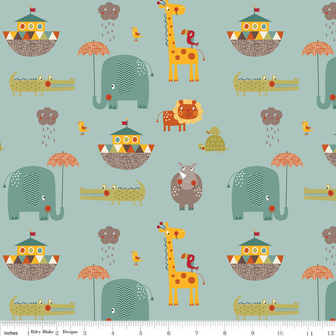Giraffe Crossing 2 - Main Teal - Riley Blake Designs - Blue Animals Elephant - Cotton Woven Quilt Fabric - choose your cut