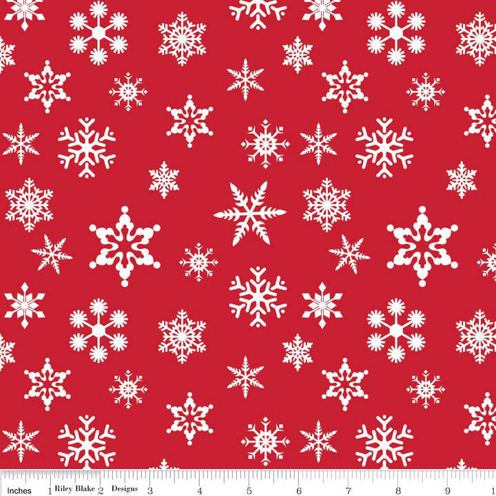 Holiday Snowflakes Red by Riley Blake Designs - Holiday Banners Christmas - Quilting Cotton Fabric - choose your cut