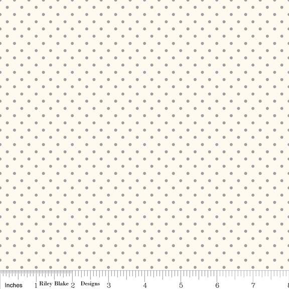 SALE Gray Swiss Dots on Cream Le Creme - Riley Blake Designs - Polka Dot - Quilting Cotton Fabric - choose your cut