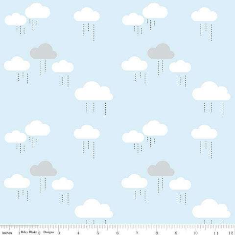 When Skies Are Gray Cloud Blue by Riley Blake Designs - Rain Light Blue White - Quilting Cotton Fabric - choose your cut