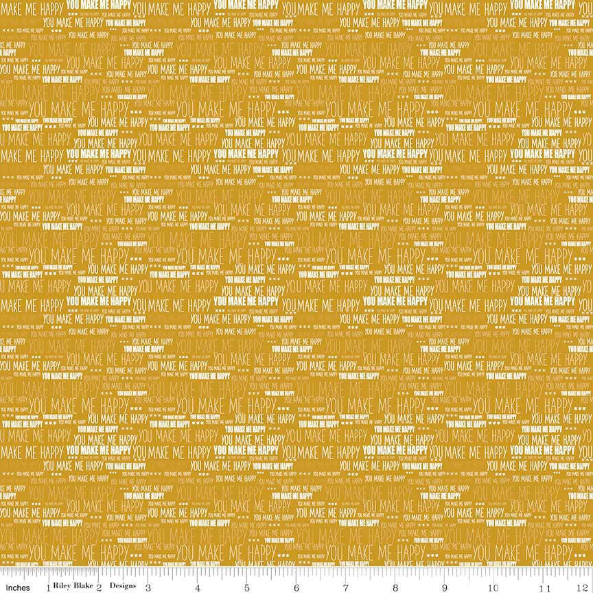 When Skies Are Gray Words Gold by Riley Blake Designs - You Make Me Happy - Quilting Cotton Fabric - choose your cut
