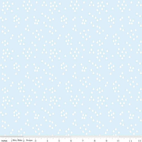 When Skies Are Gray Rain Blue by Riley Blake Designs - Rain Drops Light - Quilting Cotton Fabric - choose your cut