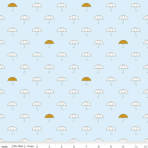 SALE When Skies Are Gray Main Blue SPARKLE by Riley Blake Designs - Gold Umbrella - Quilting Cotton Fabric - choose your cut