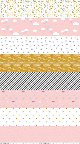 SALE When Skies Are Gray Stripe Pink SPARKLE by Riley Blake Designs - Metallic - Quilting Cotton Fabric - choose your cut