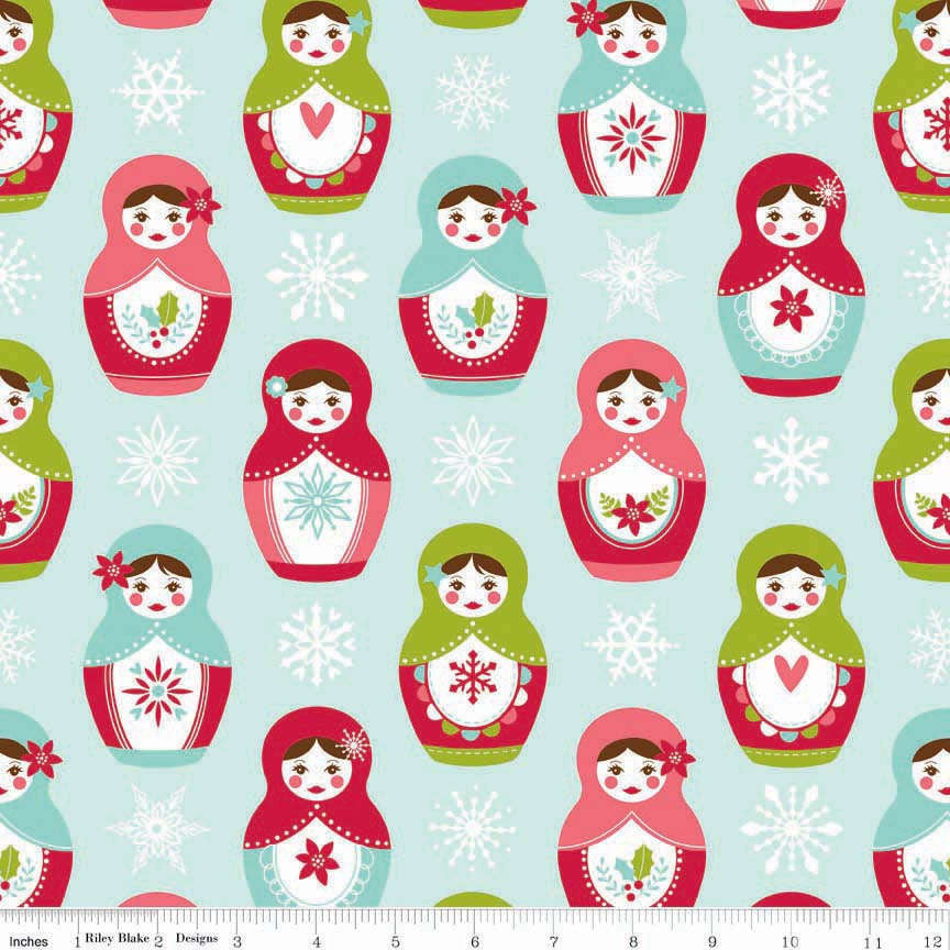 Merry Matryoshka Main Blue by Riley Blake Designs - Christmas Holiday Dolls - Quilting Cotton Fabric - fat quarter