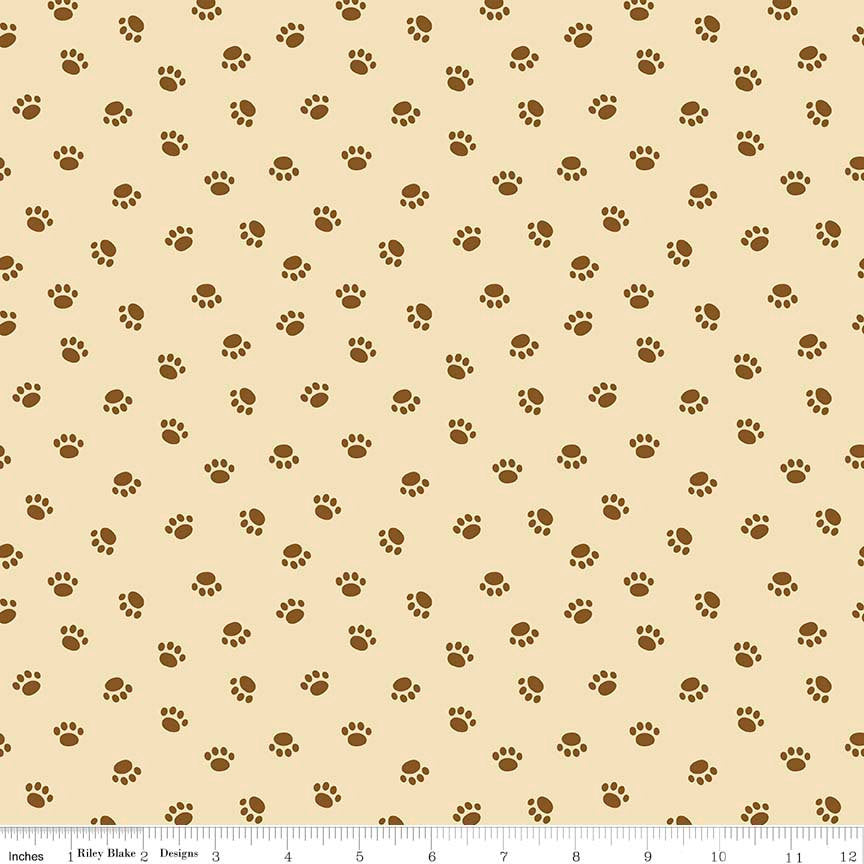 Rover Paw Tan by Riley Blake Designs - Dog Brown Pet Puppy Paws Prints - Quilting Cotton Fabric