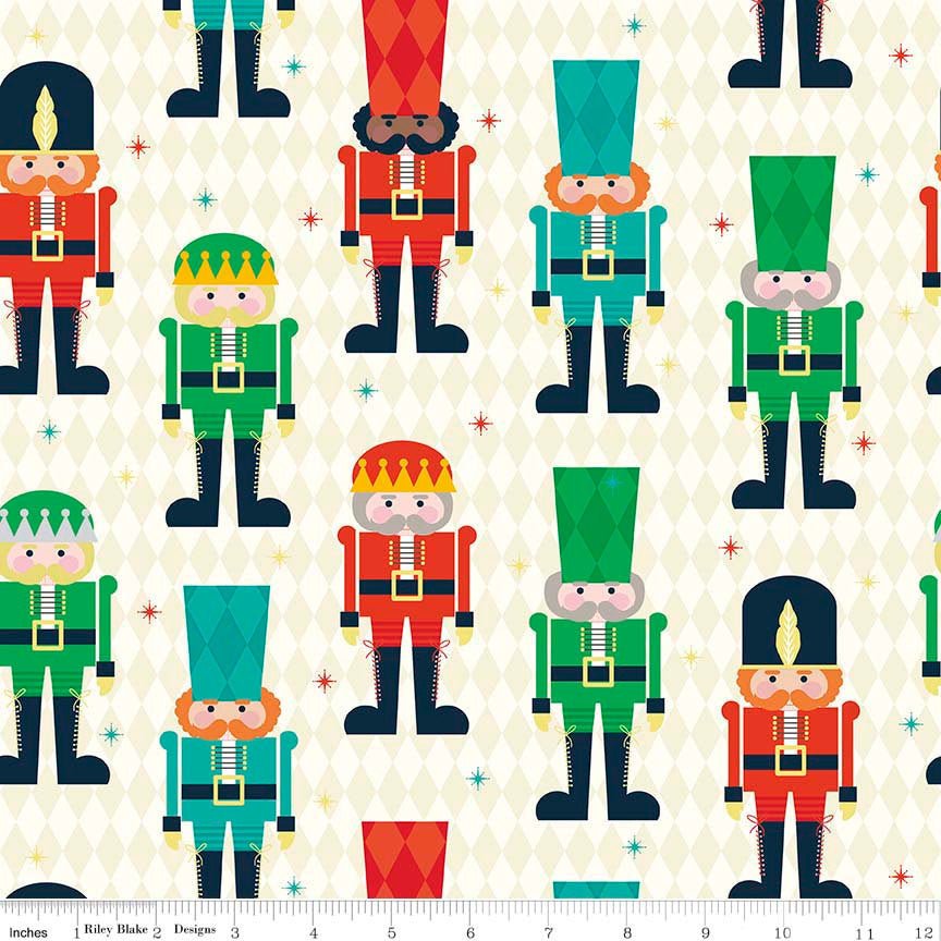 SALE Nutcracker Christmas Main Cream by Riley Blake Designs - Holiday Christmas - Quilting Cotton Fabric - fat quarter