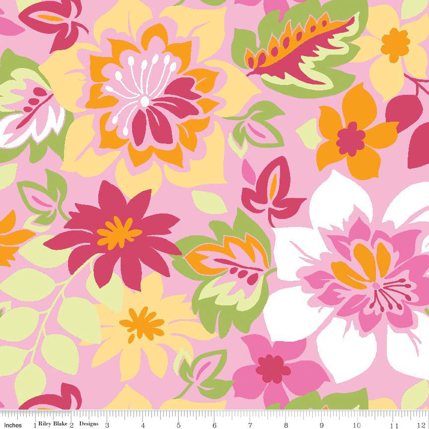 CLEARANCE Extravaganza Main Pink by Riley Blake Designs - Floral Flowers Yellow Lime - Quilting Cotton Fabric - choose your cut