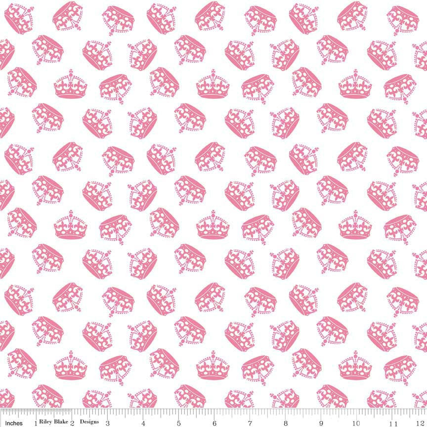 Hot Pink SPARKLE crowns - Riley Blake Designs - Princess Girl White Metallic - Cotton Woven Quilt Fabric