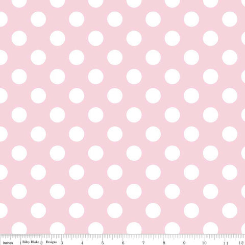 "Baby Pink and White Medium Dots 3/4"" - Riley Blake Designs - Light Polka Dots - Cotton Woven Quilt Fabric"