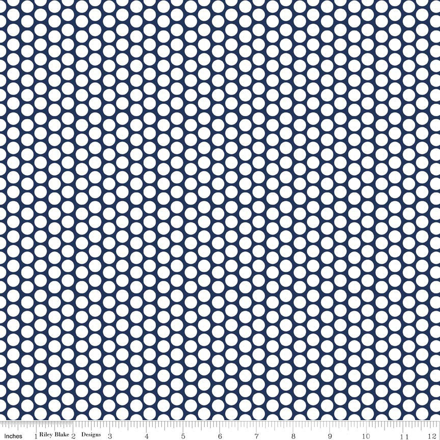 "CLEARANCE Navy Blue and White Honeycomb Dot by Riley Blake Designs - Polka Dots - Quilting Cotton Fabric - 22"" end of bolt"