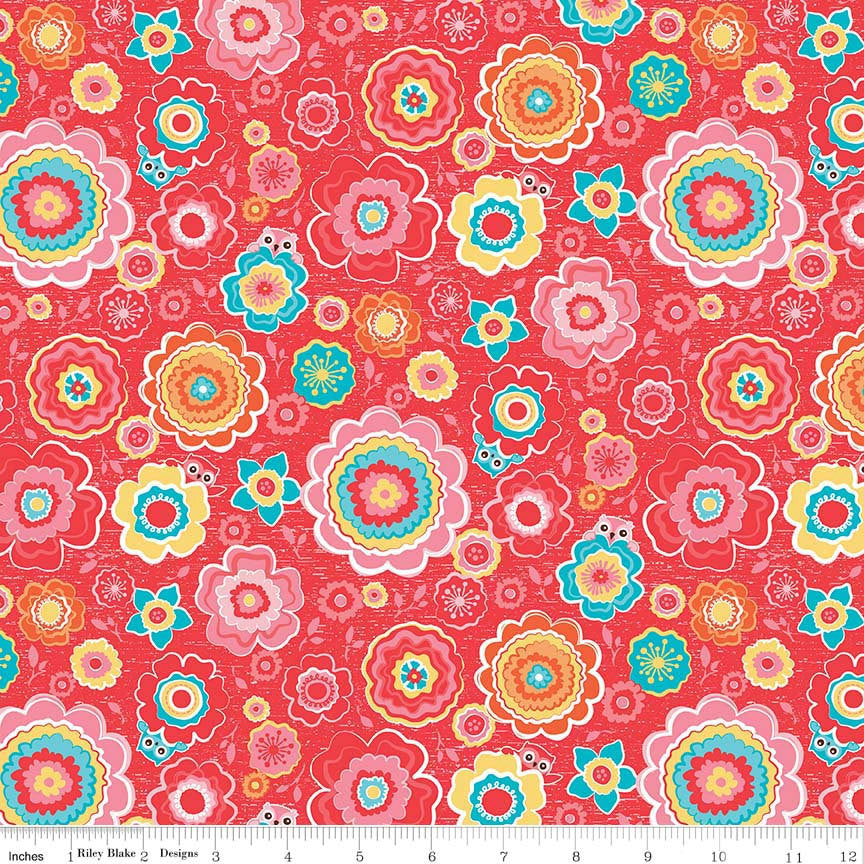 Tree Party Floral Red by Riley Blake Designs - Flowers Owls Pink Yellow - Quilting Cotton Fabric