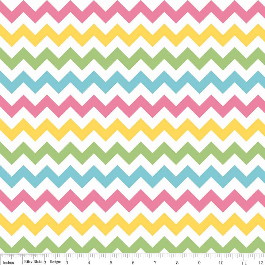 SALE Small Chevron Girl by Riley Blake Designs - Pink Green Blue - Jersey KNIT cotton lycra spandex stretch fabric - choose your cut