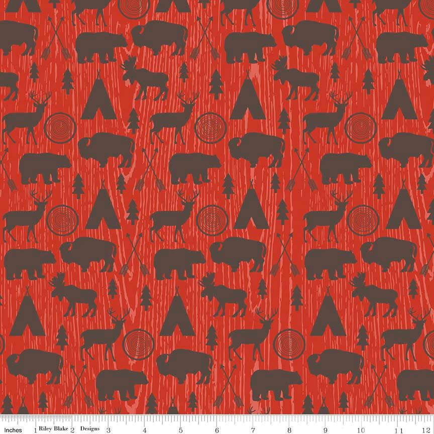 High Adventure Main Red - Riley Blake Designs - Deer Hunting Wildlife - Quilting Cotton Fabric