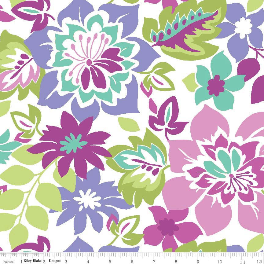 Extravaganza Main Purple by Riley Blake Designs - Floral Flowers Pink Lime - Quilting Cotton Fabric