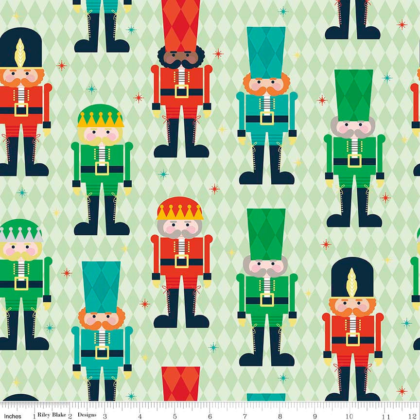 SALE Nutcracker Christmas Main Green by Riley Blake Designs - Holiday Christmas - Quilting Cotton Fabric - choose your cut