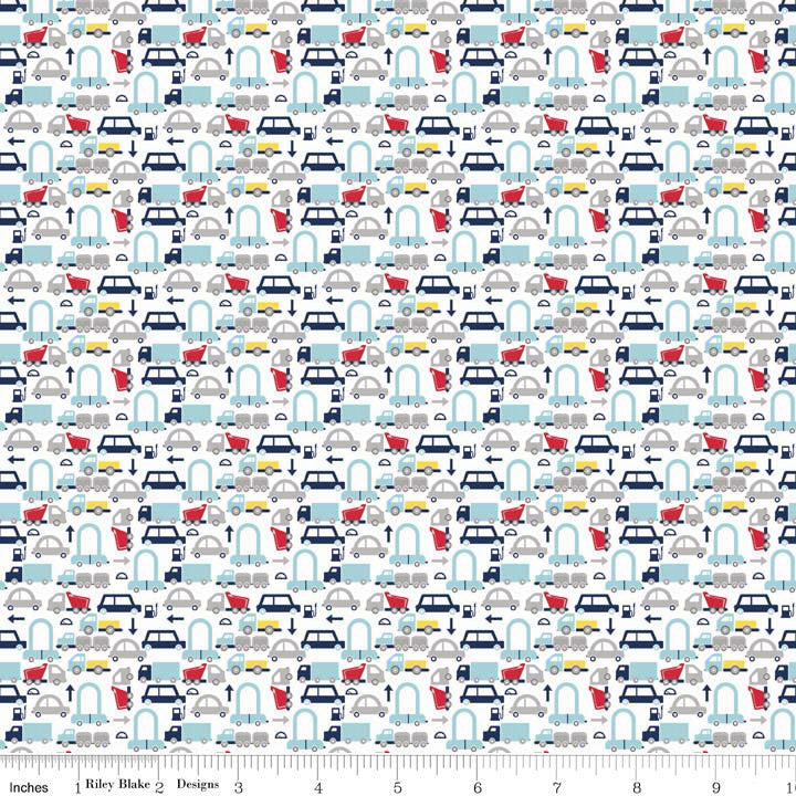 Cars White Holiday Banners by Riley Blake Designs - Auto Vehicle Trucks - Quilting Cotton Fabric - choose your cut