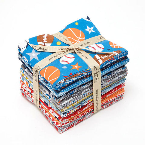 Play Ball 2 Fat Quarter Bundle 21 pieces by Riley Blake Designs - Pre cut Sports Football Soccer Basketball - Cotton Woven Quilt Fabric