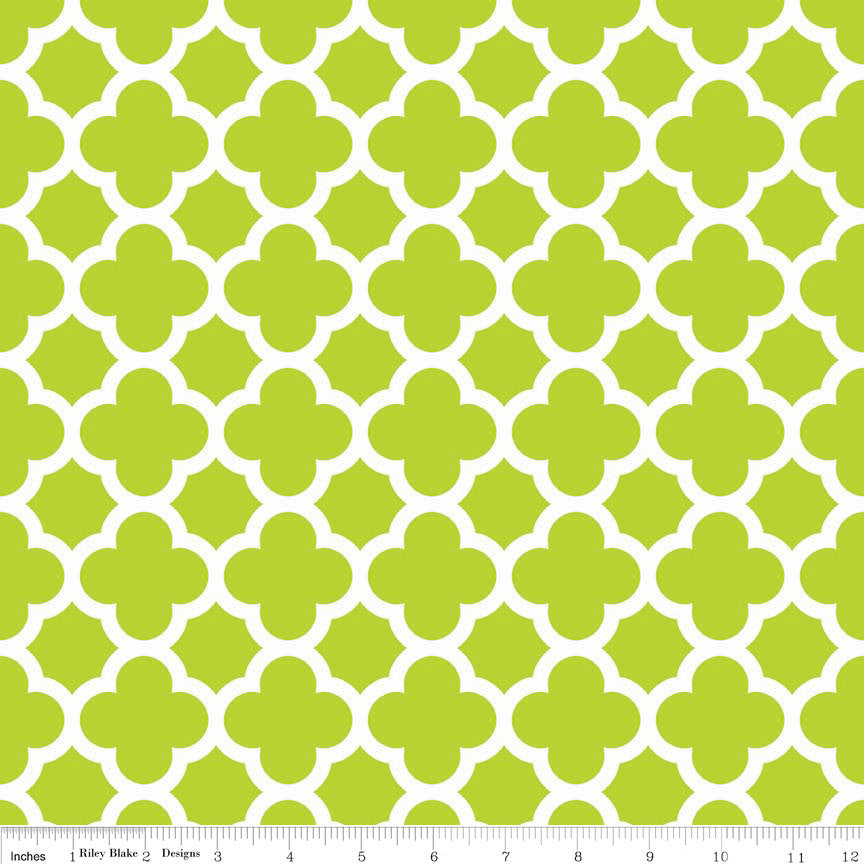 SALE Quatrefoil Lime Green and White by Riley Blake Designs - Jersey KNIT cotton lycra spandex stretch fabric - choose your cut