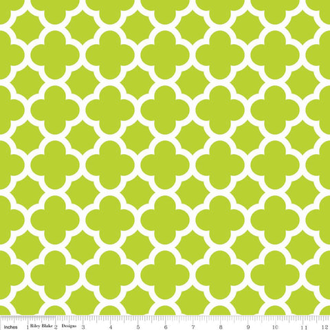 "CLEARANCE Quatrefoil Lime Green and White by Riley Blake - Jersey KNIT cotton lycra spandex stretch fabric - 1 yard 17"" end of bolt piece"