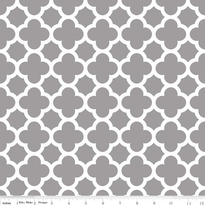 CLEARANCE Quatrefoil Gray and White by Riley Blake Designs - Jersey KNIT cotton lycra spandex stretch fabric - by the yard