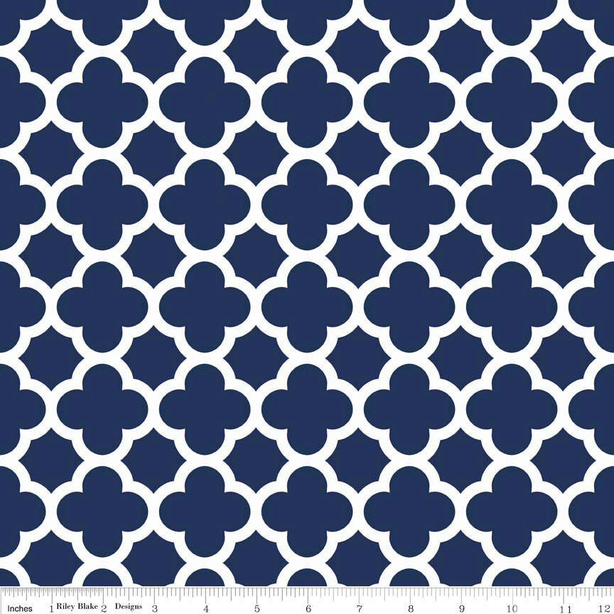 SALE Quatrefoil Navy Blue White by Riley Blake Designs - Jersey KNIT cotton lycra spandex stretch fabric - choose your cut