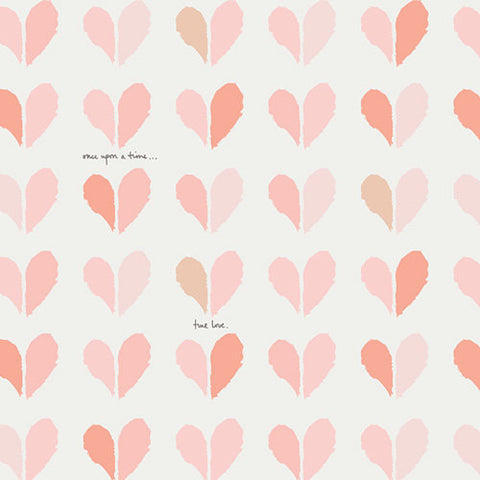 Paperie Happily Ever After - Art Gallery - Pink Hearts Coral Cream -  Jersey KNIT cotton lycra stretch fabric - choose your cut