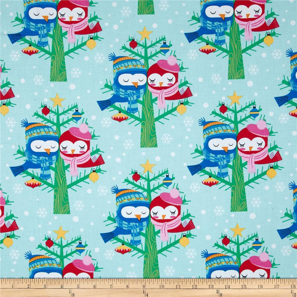 CLEARANCE All the Trimmings Christmas Lovebirds Winter - Michael Miller - Aqua Blue Holiday - Cotton Woven Quilt Fabric - by the yard