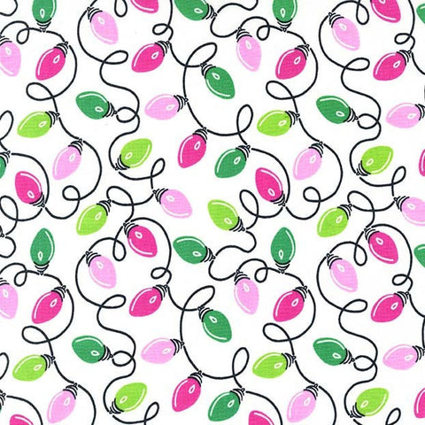 All the Trimmings Tangly Lights Candy by Michael Miller - Christmas Pink Green - Cotton Woven Quilt Fabric
