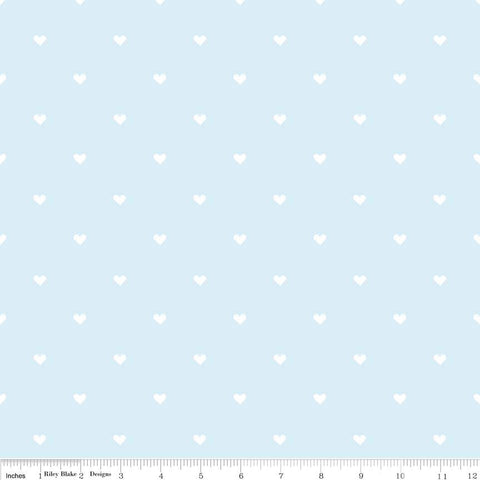 When Skies Are Gray Heart Blue White - Riley Blake Designs - Jersey KNIT cotton lycra spandex stretch fabric