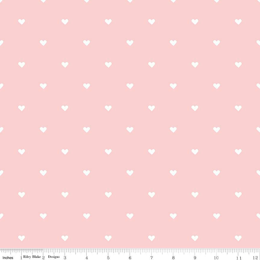 When Skies Are Gray Heart Pink - Riley Blake Designs - Peach -Jersey KNIT cotton lycra spandex stretch fabric