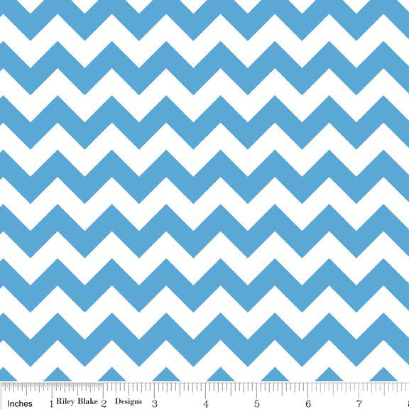 Medium Blue and White Chevron Small by Riley Blake Designs - Quilting Cotton Fabric