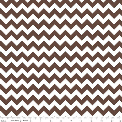 CLEARANCE Brown and White Chevron Small by Riley Blake Designs - Quilting Cotton Fabric - by the yard