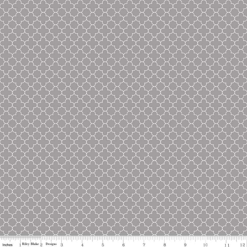 SALE Mini Quatrefoil Gray by Riley Blake Designs - Quilting Cotton Fabric - choose your cut
