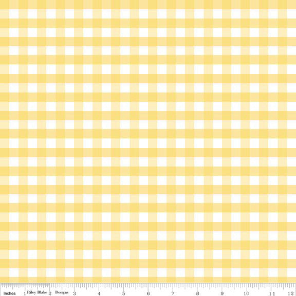 "SALE Yellow and White Medium PRINTED Gingham 1/4"" Quarter Inch - Riley Blake Designs - Checker - Quilting Cotton Fabric"