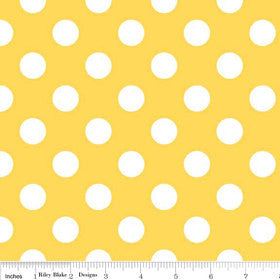 "White Polka Dots on Yellow Medium 3/4"" inch - Riley Blake Designs  - Cotton Woven Quilt Fabric"