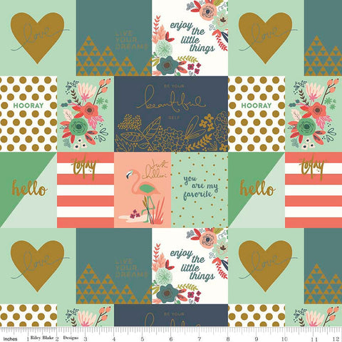 SALE On Trend Notecards Coral SPARKLE - Riley Blake Designs - Green Gold Metallic - Quilting Cotton Fabric
