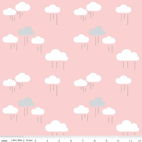 "When Skies Are Gray Cloud Pink by Riley Blake Designs - Rain Light Pink White - Quilting Cotton Fabric - 22"" end of bolt"