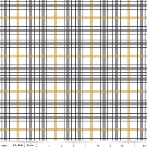 When Skies Are Gray Plaid White SPARKLE by Riley Blake Designs - Gold Metallic Quilting Cotton Fabric - choose your cut