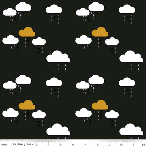When Skies Are Gray Cloud Black SPARKLE by Riley Blake Designs - Gold Metallic - Quilting Cotton Fabric - choose your cut