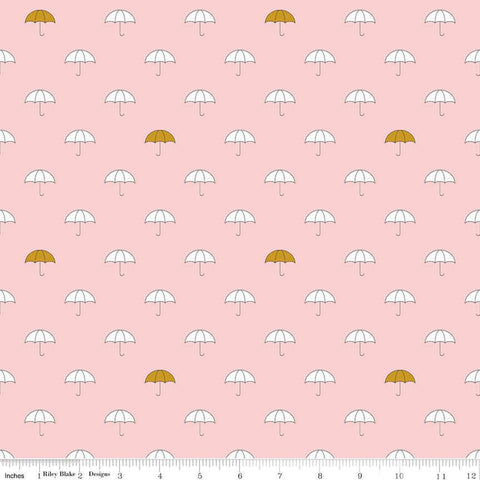 When Skies Are Gray Main Pink SPARKLE by Riley Blake Designs - Gold Umbrella - Quilting Cotton Fabric - choose your cut