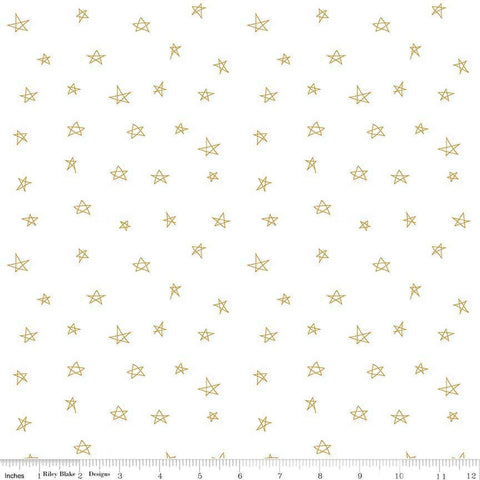 When Skies Are Gray Star Gold SPARKLE on White Metallic - Riley Blake Designs - Quilting Cotton Fabric
