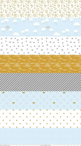 When Skies Are Gray Stripe Blue SPARKLE by Riley Blake Designs - Metallic - Quilting Cotton Fabric - by the yard half quarter