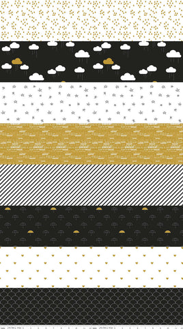 When Skies Are Gray Stripe Black SPARKLE by Riley Blake Designs - Metallic- Quilting Cotton Fabric - choose your cut
