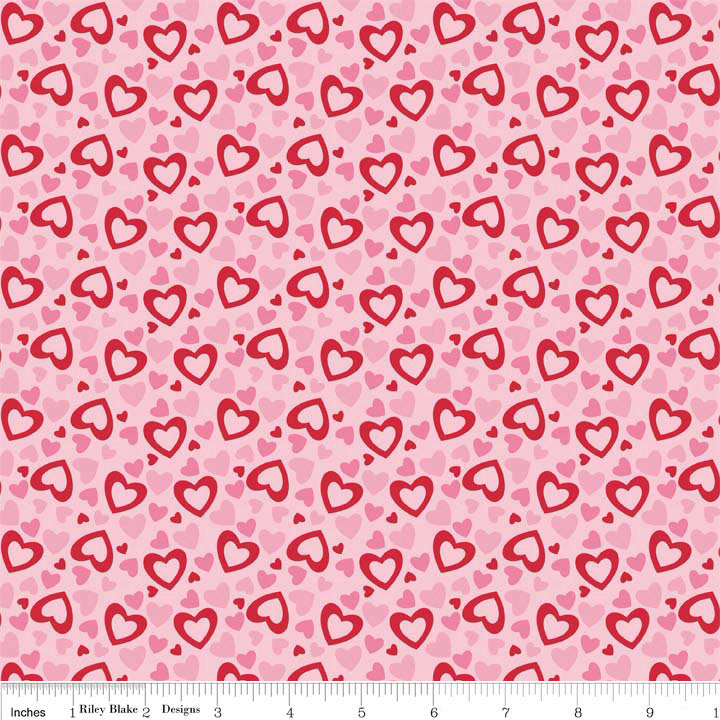 Hearts Multi Valentine Holiday by Riley Blake Designs - Pink Red - Quilting Cotton Fabric - choose your cut
